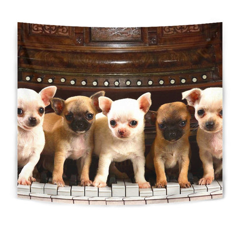 Chihuahua On Piano Print Tapestry