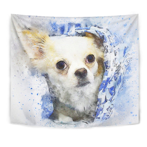 Chihuahua Dog Watercolor Art Print Tapestry