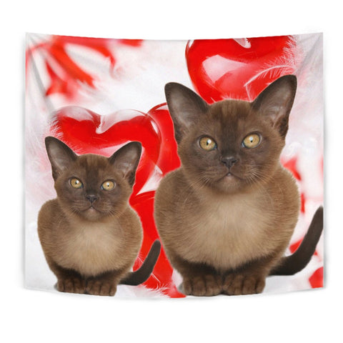 Burmese Cat On Red Print Tapestry