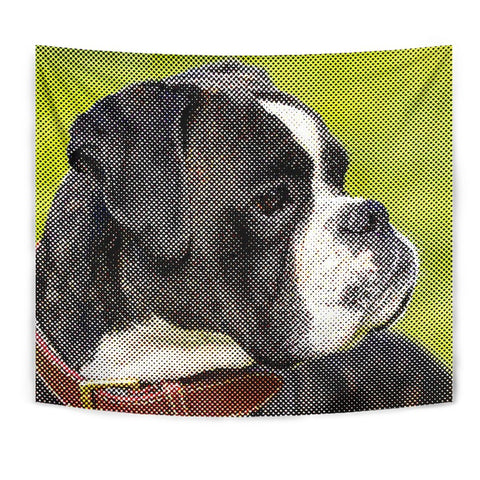 Boxer Dog Dotted Art Print Tapestry