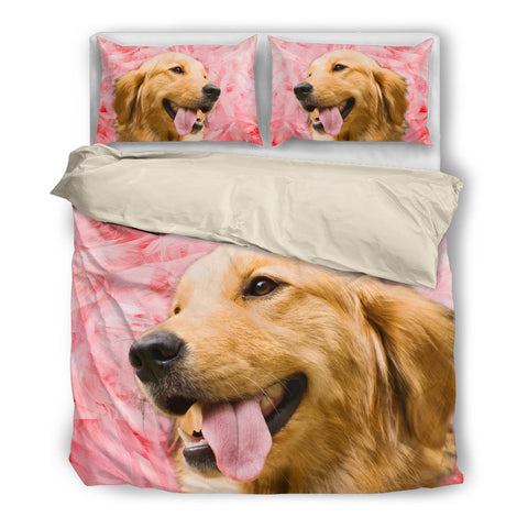 Valentine's Day Special Golden Retriever On Red Print Bedding Set