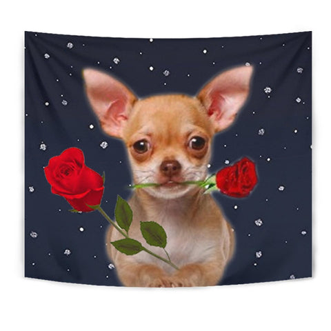 Chihuahua With Rose Print Tapestry