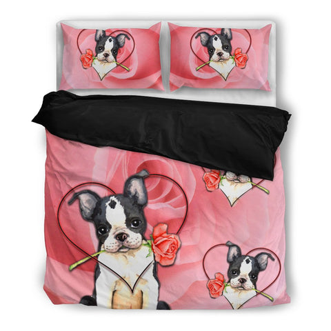 Valentine's Day Special Boston Terrier On Red Print Bedding Set