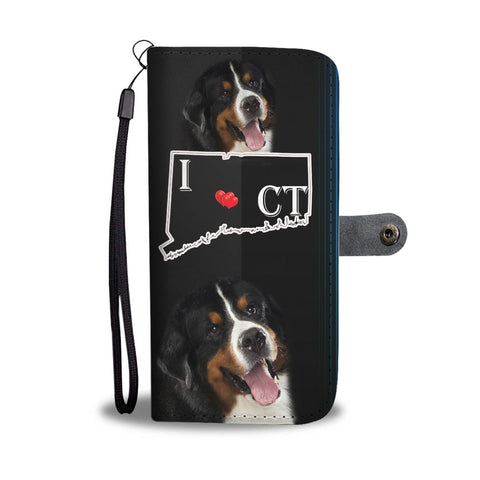 Amazing Bernese Mountain Dog Print Wallet CaseCT State