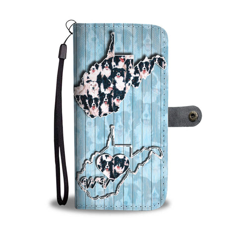 Amazing Border Collie In Lots Print Wallet CaseWV State