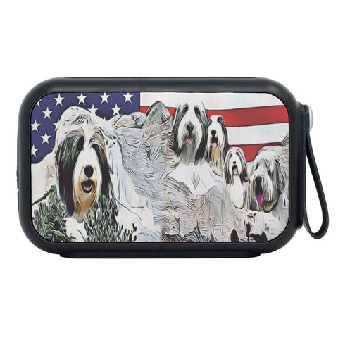 Bearded Collie Mount Rushmore Print Bluetooth Speaker