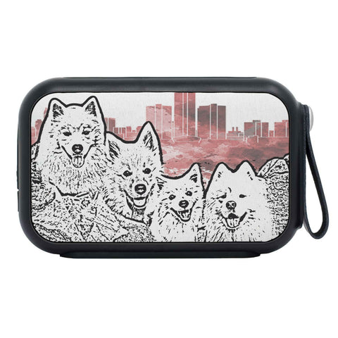 American Eskimo Dog Mount Rushmore Print Bluetooth Speaker