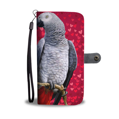 African Grey Parrot On Red Print Wallet Case