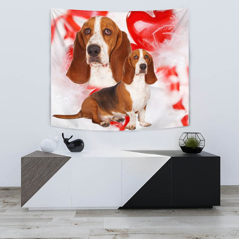 Basset Hound On Red Print Tapestry