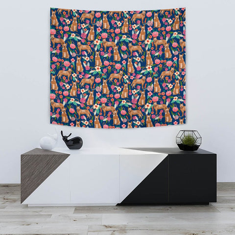 Australian Cattle Dog Floral Print Tapestry