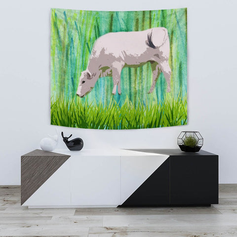 Amazing Chianina Cattle (Cow) Print Tapestry