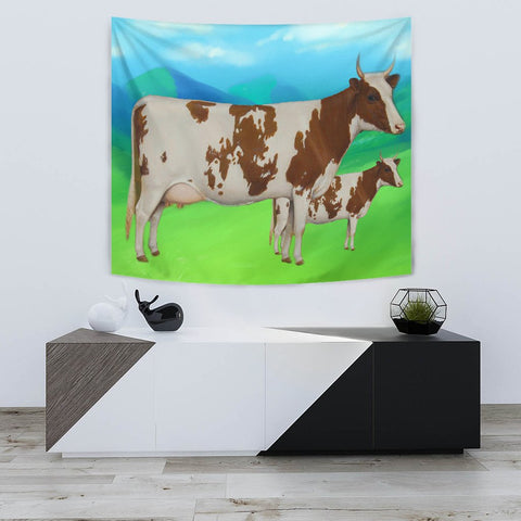 Ayrshire Cattle (Cow) Print Tapestry