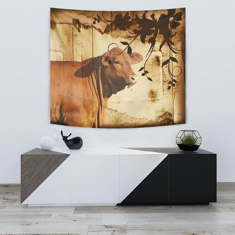 Amazing Red Brangus Cattle Print Tapestry