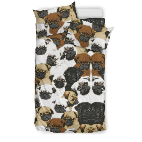 Pug Dog In Lots Print Bedding Set