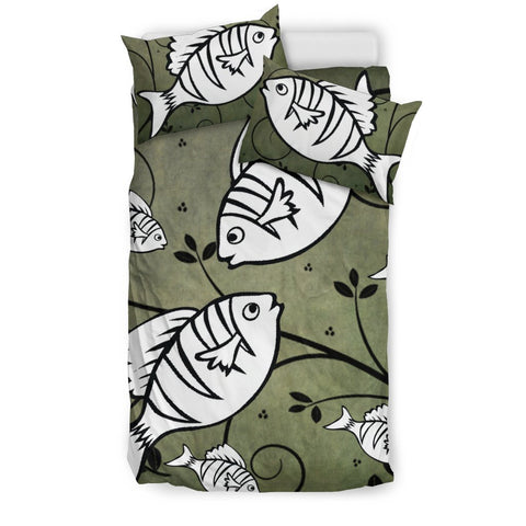 White Fish Print Bedding Sets