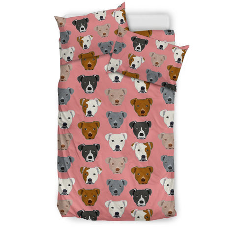 Pit Bull Dog Pattern Print Bedding Set