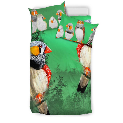 Zebra Finch Bird Print Bedding Set