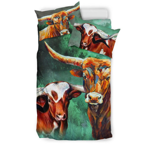 Beautiful Texas Longhorn Cattle (Cow) Print Bedding Set