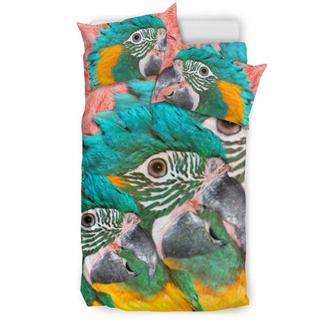 Blue Threaded Macaw Parrot Print Bedding Set