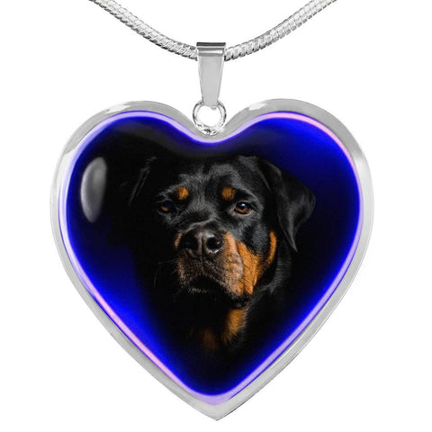 Amazing Rottweiler Dog Print Heart Charm Necklaces