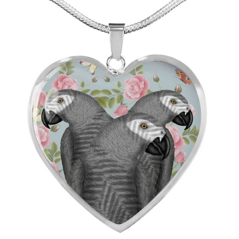 African Grey Parrot Print Heart Pendant Luxury Necklace