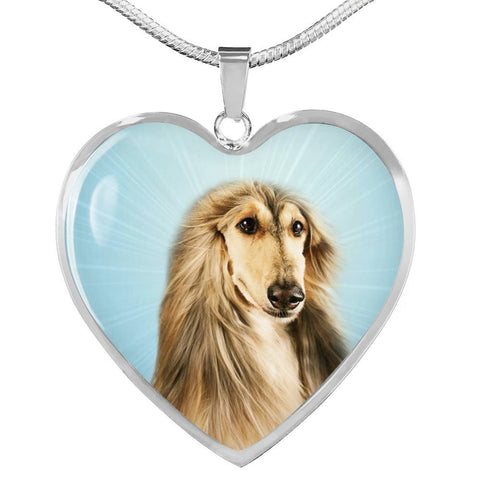 Afghan Hound Dog Print Heart Pendant Luxury Necklace