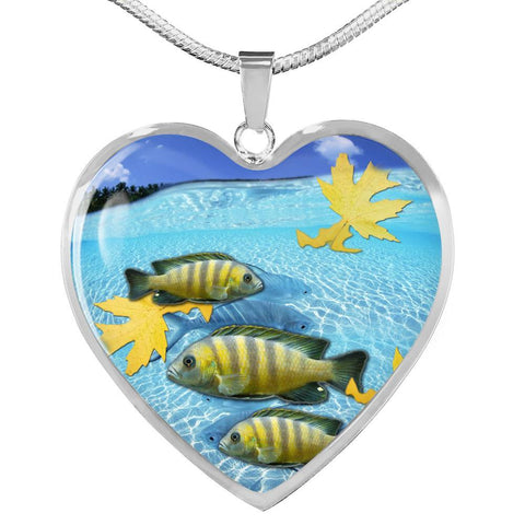 Afra Cichlid Print Heart Charm Necklace