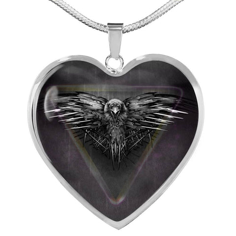 Amazing Eagle Print Heart Charm Necklaces