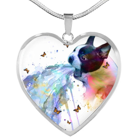 Amazing Colorful Boston Terrier Print Heart Pendant Luxury Necklace