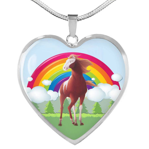 American Paint Horse Print Heart Pendant Luxury Necklace