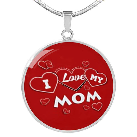 'I Love MY MOM' Red Print Circle Pendant Luxury Necklace