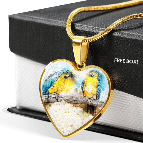 Blue And Yellow Macaw Parrot Art Print Heart Charm Necklaces