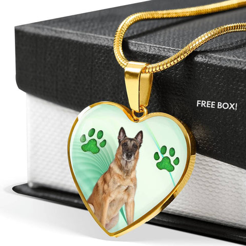 Belgian Malinois Dog Print Heart Pendant Luxury Necklace