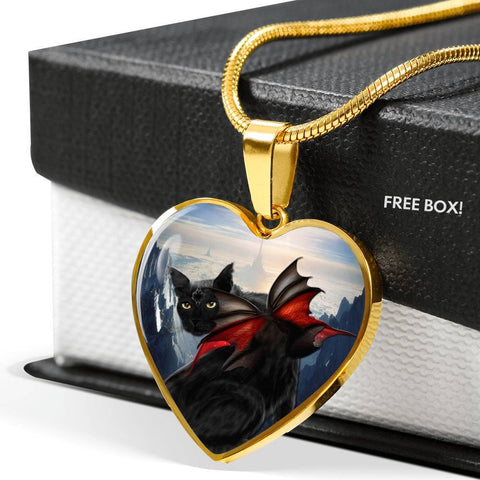 Bombay Cat Print Heart Pendant Luxury Necklace