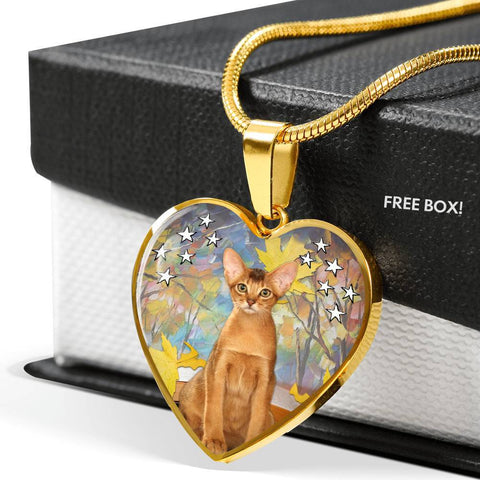 Abyssinian Cat Print Heart Pendant Luxury Necklace