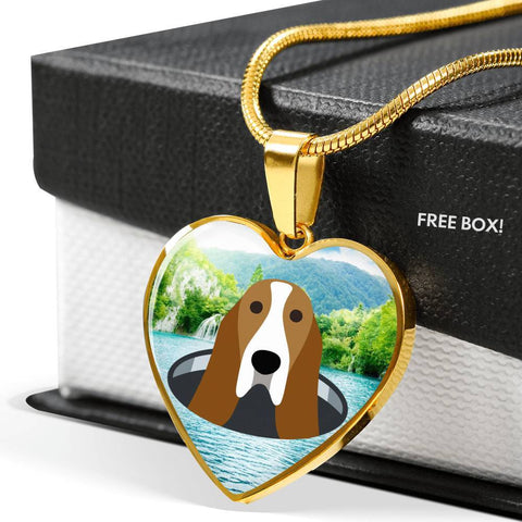 Basset Hound Dog Vector Print Heart Charm Necklaces