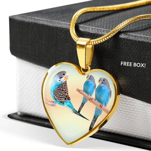 Blue Budgie Parrot Print Heart Charm Necklaces