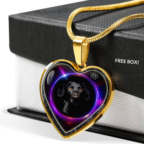 Black Labrador Print Heart Charm Necklaces