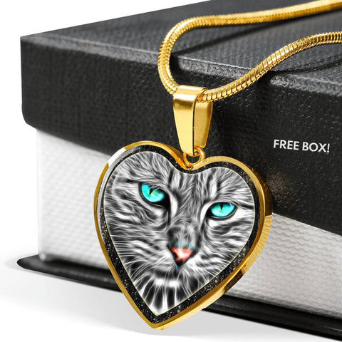 Blue Eyes Cat Print Heart Charm Necklaces