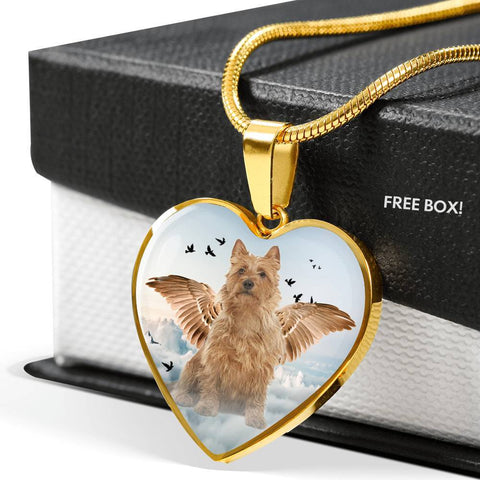 Australian Terrier Print Heart Pendant Luxury Necklace