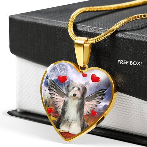 Bearded Collie With Wing Print Heart Pendant Luxury Necklace