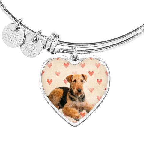 Airedale Terrier Print Luxury Heart Charm Bangle