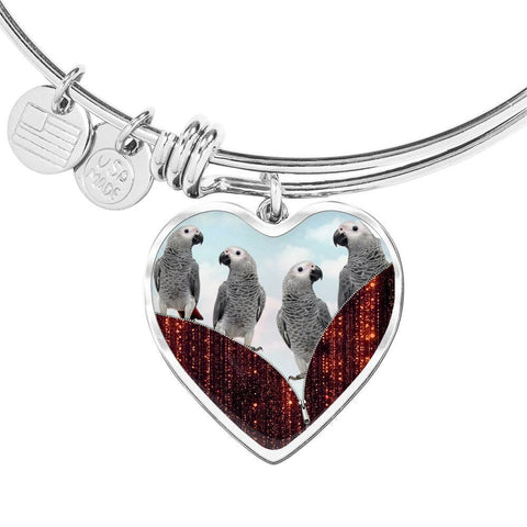 African Grey Parrot Print Heart Pendant Bangle