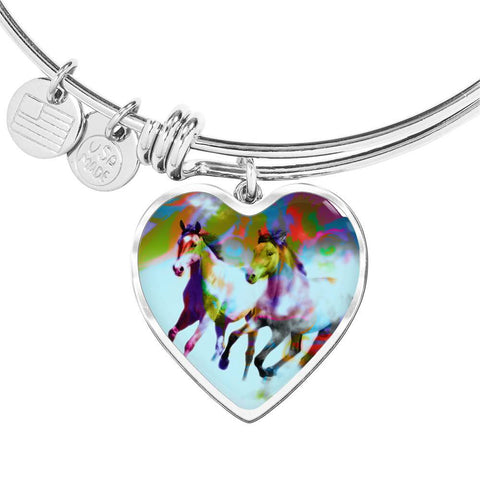 American Quarter Horse Print Heart Pendant Luxury Bangle