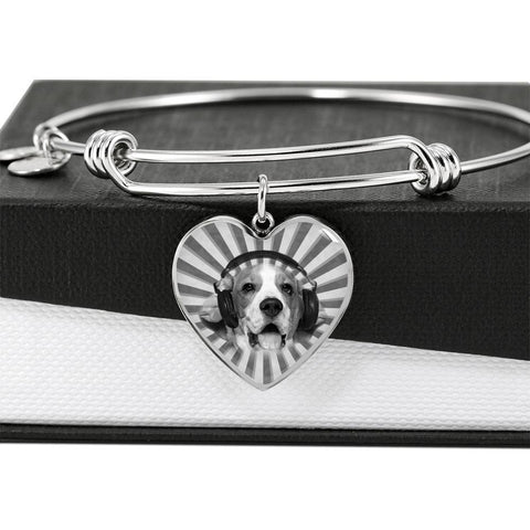 Beagle Print Luxury Heart Charm Bangle