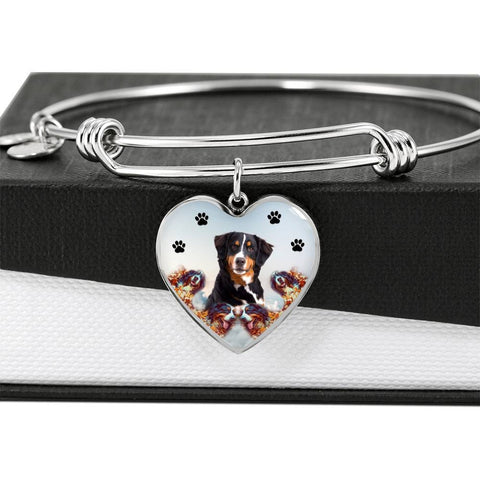 Bernese Mountain Dog Print Luxury Heart Charm Bangle
