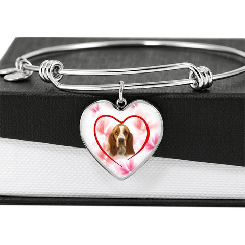 Basset Hound Print Luxury Heart Charm Bangle