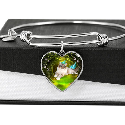 Birman Cat Print Heart Pendant Bangle