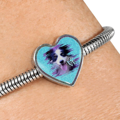 Border Collie Dog Art Print Heart Charm Steel Bracelet