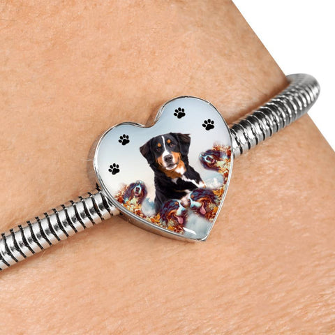 Bernese Mountain Dog Print Heart Charm Steel Bracelet